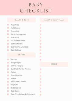 Printable Newborn Checklist Babies Baby Checklist