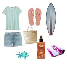 """At the beach"" by jpchahal ❤ liked on Polyvore featuring Paige Denim, Calypso St. Barth, Havaianas, Indego Africa, WALL, Hawaiian Tropic and Brika"