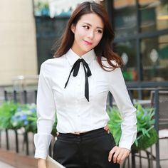 White Women Bodysuit Blouse With Black Bow-Tie Long Sleeve Ol Slim Shirt Top Bow Tie Shirt, Tie Blouse, Shirt Blouses, Ruffle Blouse, Bow Ties, Bodysuit Blouse, Womens Bodysuit, White Shirts Women, White Women