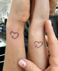Initial Tattoo – Sister tattoos – # Initial … - Famous Last Words Mini Tattoos, Bts Tattoos, Dainty Tattoos, Small Wrist Tattoos, Love Tattoos, Tatoos, Small Heart Tattoos, Heart Wrist Tattoos, 3 Hearts Tattoo