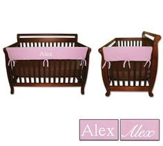 Personalized Embroidered Monogram or Name 3pc Trend Lab Crib Wrap Rail Guard Set Pink ** Check this awesome product by going to the link at the image.