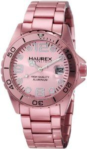Haurex Italy Women's 7K374DP1 Ink Pink Aluminum Bracelet Date Watch Haurex. $180.00. High quality metallic aluminum braceletLuminous hands and hour markersScrew down crown. High quality metallic aluminum bracelet. Screw down crown. Luminous hands and hour markers. Water-resistant to 165 feet (50 M). Save 60%!