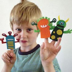 Monster Finger Puppet Kit - party ideas, games and birthday activities for children's partyware & essentials parties with ideas for decorations, invitations, and gifts.