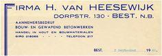 Firma H. van Heesewijk aannemersbedrijf. Huisnummer: 130