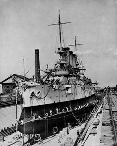 USS Maine at Hunters Point Naval Shipyard ...1908.