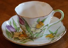 "Salisbury English Fine Bone China ""Tulips and Daffodils"" Pattern Teacup and Saucer Set"