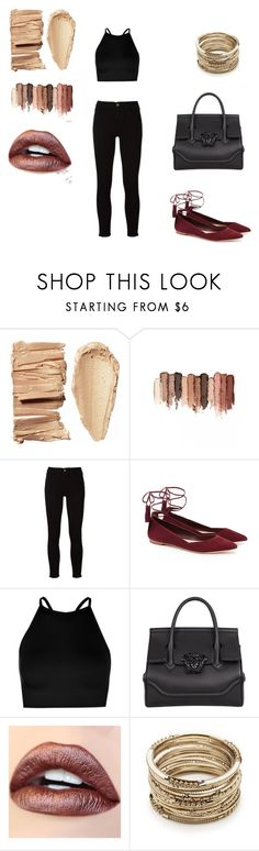 """""""Bez naslova #16"""" by amelito ❤ liked on Polyvore featuring tarte, Frame, Loeffler Randall, Boohoo, Versace and Sole Society"""