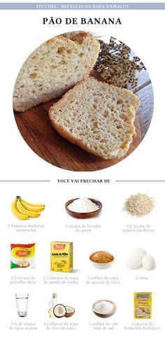 Pão de Banana Light Recipes, Clean Recipes, Cooking Recipes, Healthy Recipes, Comidas Lights, Sin Gluten, I Love Food, Good Food, Paleo Baking