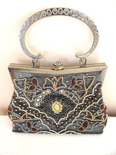 Vintage Handbag- Grey Silk with Beaded Design- Brass with Rhinestones and Seed Beads- Beautiful Handbag/ Purse- Elegant/ Classy/ Evening on Etsy, $45.00