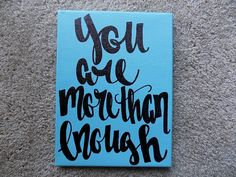 You are more than enough Canvas Quote Art by ArtOfWordsBoutique