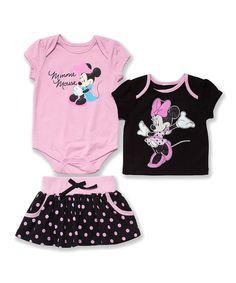 Look what I found on #zulily! Pink Minne Bodysuit Set - Infant by Disney #zulilyfinds