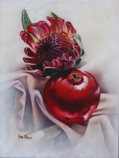 by Ilse Kleyn. Protea Art, Protea Flower, Art Flowers, Flower Art, Wild Flowers, South Africa Art, Prophetic Art, South African Artists, Jewish Art