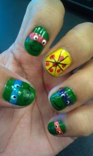 Image detail for -Teenage Mutant Ninja Turtle Nail Art Design Tutorial Video