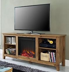d73e418915840 Electric Fireplace Media Center Entertainment Console TV Stand Barnwood  Firebox. Lowest price on Walker Edison ...