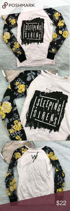"Sleeping With Sirens Long Sleeve Sleeping With Sirens white black yellow floral print sleeve raglan shirt. Womens size Small. Gently used, without flaws. See pictures for details.  Armpit to Armpit - 17"" Length - 24""  Inventory 04112017 Tops Tees - Long Sleeve"