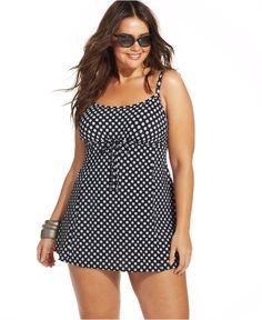 Swim Solutions Plus Size Polka-Dot Swimdress - Swimwear - Plus Sizes - Macy's Curvy Fashion, Plus Size Fashion, Girl Fashion, Plus Size Outfits, Trendy Outfits, Cute Outfits, Smart Outfit, Plus Size Swimwear, Swim Dress
