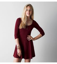 Burgundy AEO Tie Back Kate Dress