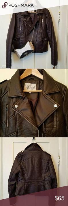 Rachel Roy M berry biker jacket NWT gorgeous berry colored biker jacket in faux leather by Rachel Roy. Instantly elevates any outfit!  The purse is also for sale in my closet. RACHEL Rachel Roy Jackets & Coats