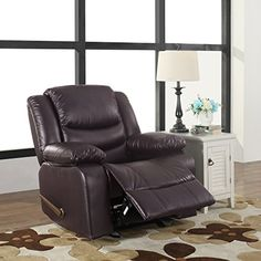 Bonded Leather Recliner Living Room Rocker Chair Rocking recliner chair upholstered in durable bonded leather and overstuffed for extra comfort. Manly Living Room, Living Room Chairs, Living Room Furniture, Furniture Chairs, Arm Chairs, Living Area, Accent Chairs, Best Recliner Chair, Leather Recliner Chair