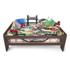Train Table Wooden 50 Piece Train Set Kids Play Table Wood Gift Toy ...