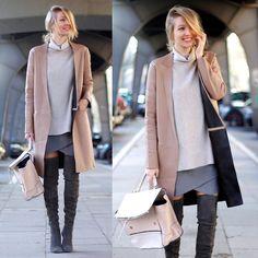 Leonie H. - Zara Leather Coat, Zara Knit, Hallhuber Skirt, Zara Overknees, Zara Bag - Grey x Beige
