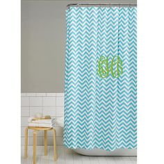 Chevron Shower Curtain in Tiffany Blue with Monogram.