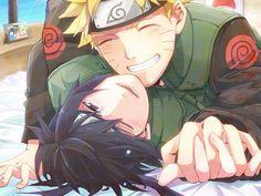 Yaoi! Naruto and Sasuke, Naruto, laughing, hug, sweet moments, drawing