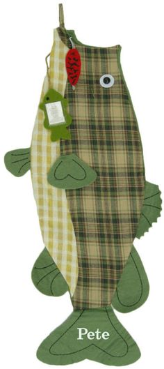 $27.99 Largemouth Bass Christmas Stocking An unusual stocking for the fisherman in the family This largemouth bass Christmas stocking has felt fins, a green felt back, a black beaded eye, and a hook for hanging. Additional red lure and photo holders are attached. We will embroider on the tail fin of this fish stocking. Personalize with an embroidered name or initials. Stocking is 27 in. long.