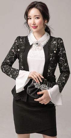 StyleOnme_Tulip Hem Wrap Shirred Skirt #black #skirt #feminine #koreanfashion #kstyle #kfashion #springtrend #seoul #formallook