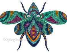 Saray la mosca de la reina, arte quilling de papel Original, Ilustración de arte, OOAK, la pared