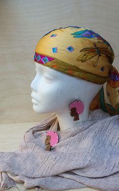 Set pendant + earrings, Handmade earring, wood earring, Afro girl earring, wood jewelry, ethno earrings, african girl, Afro girl pendant by VedaBohoShop on Etsy