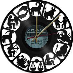 Zodiac Theme Vinyl Record Clock Upcycled vinyl by geoartcrafts, €18.90