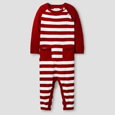 Baby Boys' Long-sleeve Stripe Raglan Sweater Coverall Red - Cat & Jack Baby™ : Target