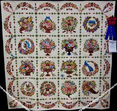 """The Place Quilt in the Hand Quilted category at Paducah Created by Fujiwara Junko, """"Fantastic"""". Applique Quilt Patterns, Hand Applique, Quilting Projects, Quilting Designs, Aplique Quilts, The Quilt Show, Japanese Quilts, Basket Quilt, Sampler Quilts"""