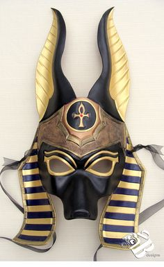 In Stock and Ready to Ship Hand-made mask of the Egyptian Jackal-god of embalming, Anubis. vegetable tanned tooling leather, painted with quality soft-body acrylic paints and sealed with a leather sheen. Egyptian Anubis, Egyptian Mask, Masque Halloween, House Of Anubis, Egyptian Costume, Anubis Costume, Cool Masks, Leather Mask, Performing Arts