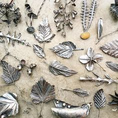 Hand fabricated botanical jewelry and jewelry made using natural stones. Sterling silver, one of a kind. Metal Clay Jewelry, Leaf Jewelry, Sea Glass Jewelry, Copper Jewelry, Wire Jewelry, Jewelry Crafts, Jewellery, Feuille Aluminium Art, Precious Metal Clay