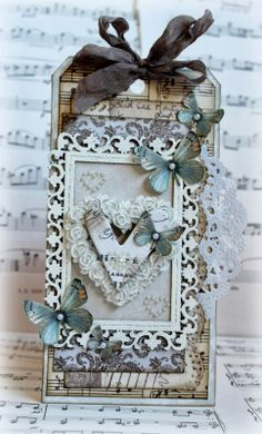 This is a tag I made with Inkido's gorgeous Beautiful Memories collection.