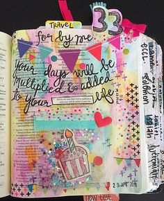 """It's my party and i'll color in my bible if i want to!  . Thought this was the perfect verse to reflect on a new year """" For by me your days will be multiplied and years added to your life"""" . #illustratedfaith #bibleart #biblejournaling #biblejournalingcommunity #watercolor #birthday http://ift.tt/1KAavV3"""