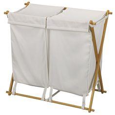 Simple White Fabric Laundry Hamper Set For Folding Wood Laundry