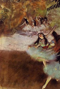 On the Stage, 1880 by Edgar Degas. Impressionism. genre painting. Art Institute of Chicago, Chicago, IL, USA