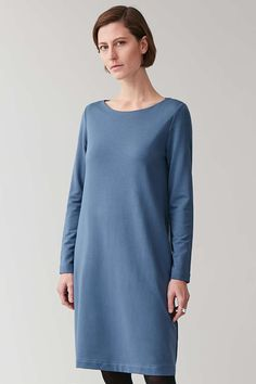 LONG ELASTIC-WAIST DRESS - Light Blue - Dresses - COS Light Blue Dresses, Elastic Waist, Cold Shoulder Dress, Women Wear, High Neck Dress, Tunic Tops, Elegant, Long Sleeve, Casual