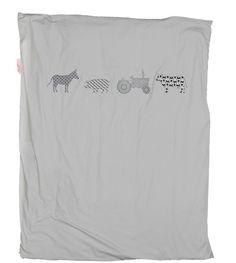 Bettwäsche grau Bauernhof - Material: Baumwolle - Maße: 100 x 135 cm - Bauenhoftiere Abbildung - für Kinderbett - Maschinenwäsche: bei 40 °C