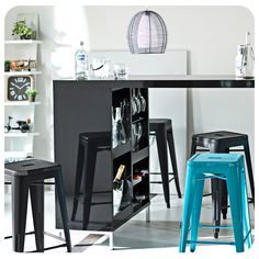 #Bar #Negro #Black #Pisos #Chair #Silla #Blue #Azul #Living #Night #Idea #Lamp #Inspiration