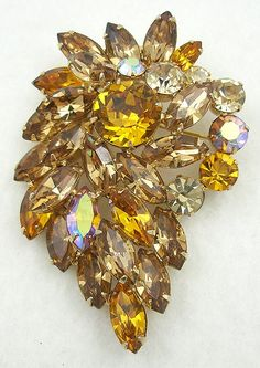 Weiss Topaz Rhinestone Brooch - Garden Party Collection Vintage Jewelry