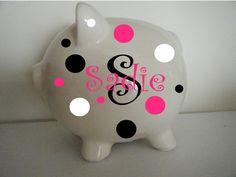 Polka Dot Children's Piggy Bank - Personalized - Wonderful Nursery Accessory - Sweet Baby Shower Gift for Little Girls Boys. via Etsy. Silhouette Vinyl, Silhouette Projects, Little Girl Gifts, Little Girls, Circuit Machine, Polka Dot, Dots, Nursery Accessories, Piggy Banks