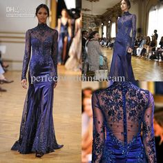 Discount Zuhair Murad Collection 2014 New Style High Neck Lace Prom Formal Gown Long Sleeves Mermaid See-through Evening Dress Online with $...