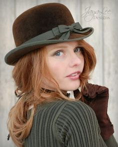 Earthy Brown Bowler Hat by Jaya Lee Be cute for St Patrick's Day!    Oooh, I love this hat!!