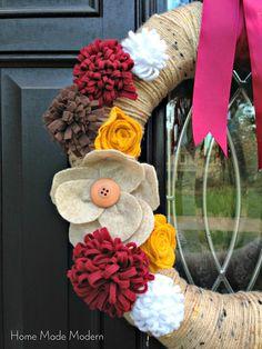 Home Made Modern: Velcro Wreath with Felt Flowers for Fall
