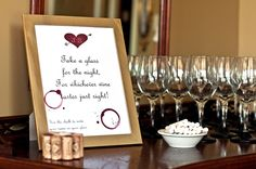 """Take a glass for the night for whichever wine tastes just right"" - sign for wine tasting party, chalk wine glasses"