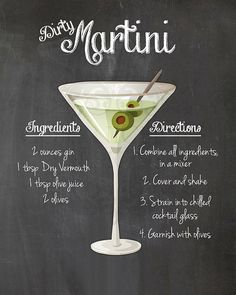 Dirty Martini Cocktail Recipe Chalkboard Printable Kitchen Art Wall Decor Digital JPEG File – Cocktails and Pretty Drinks Champagne Cocktail, Cocktail Drinks, Cocktail Recipes, Fun Cocktails, Dinner Recipes, Classic Cocktails, Party Drinks, Limoncello Cocktails, Lemonade Cocktail